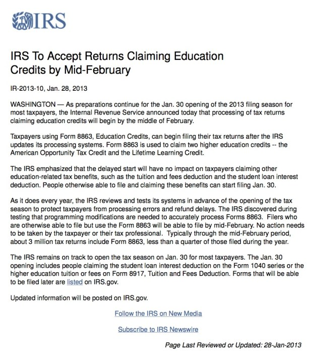 13-IRS To Accept Returns Claiming Education Credits by Mid-February copy 2