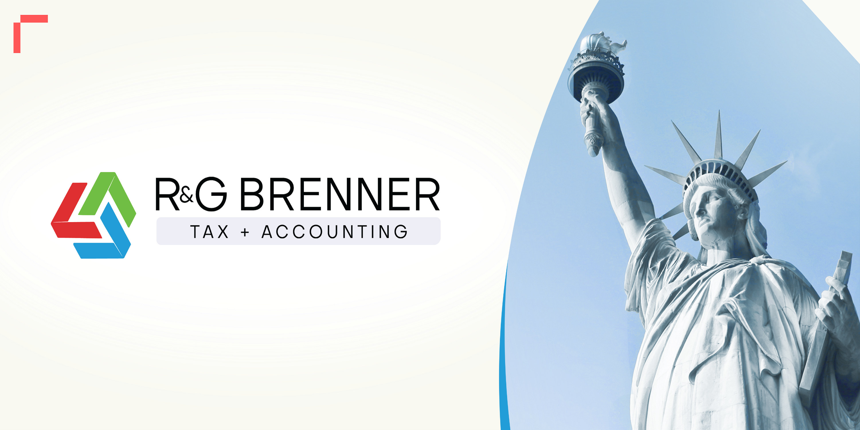 Image of the Statue of Liberty. To the left of the image is the logo of R&G Brenner.