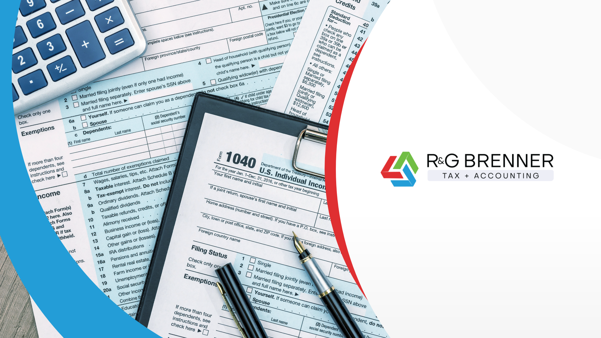 Image of 1040 tax form and other tax documents.